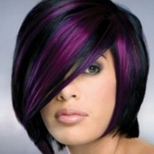 Consult friday @hintsofcolorsalon to get this! #purplehighlights #sexyhair #purplehairdontcare #timeforachange #shorthair