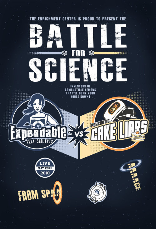 Battle for Science by thehookshot Expandable test subjects vs psychotic cake liars. Artist tumblr / facebook / shop