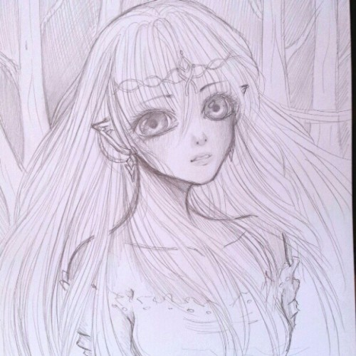 A sketch of Luthien from LOTR I drew last night :)