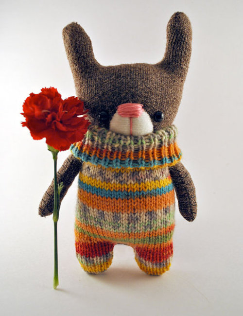 (Knitted Bunny Teddy Plushie Childrens Toy by starsbythedoorstitch)