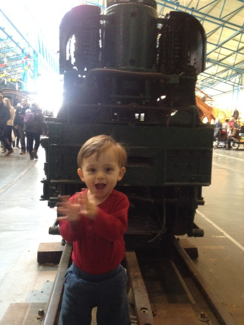 Happiness in York, UK at the train museum