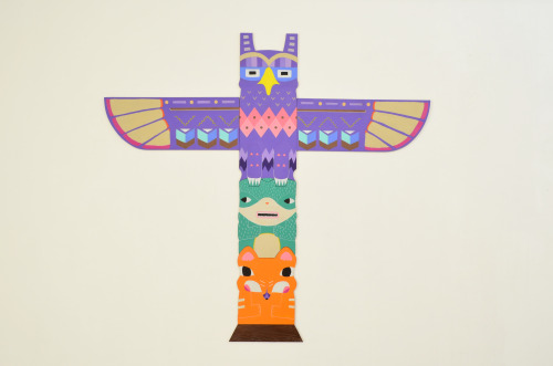 sayoree:  Hand painted totem pole!   This work is a response to an album cover by My Morning Jacket, who believe that animals are their 'totem'. I decided to cut out each section of the totem out of wood and they all come together by puzzling into one another. I have illustrated and hand painted each section using vibrant colors that compliment each other.