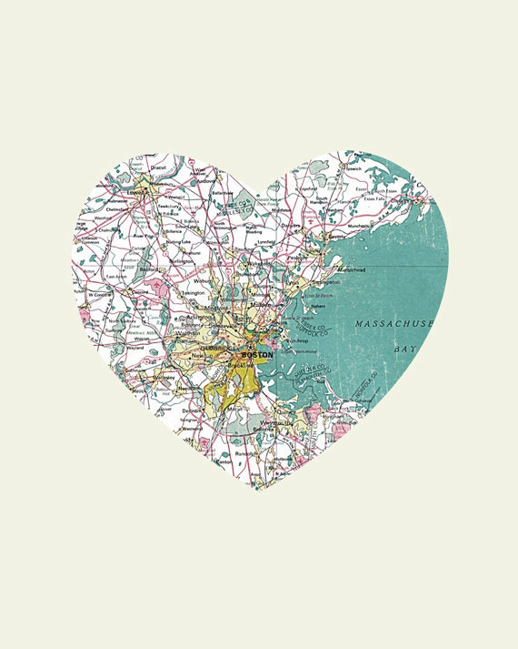 meredithmo:  I'm just so damn sorry, Boston. (via Boston Art City Heart Map 8x10 Art Print by LuciusArt on Etsy)