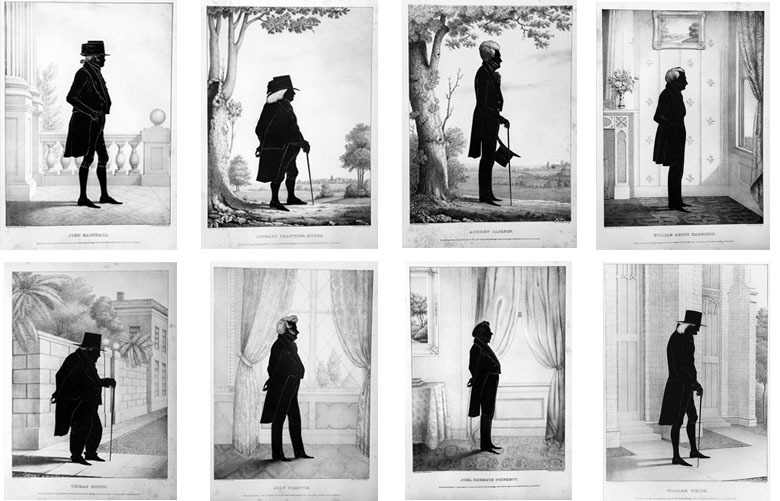 Typology of silhouettes, 1844. By E. B. & E. C. Kellogg Lithography Company. Smithsonian National Portrait Gallery collection.