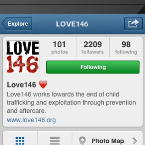 Follow something that matters. These guys are world changing. #love146 @love146