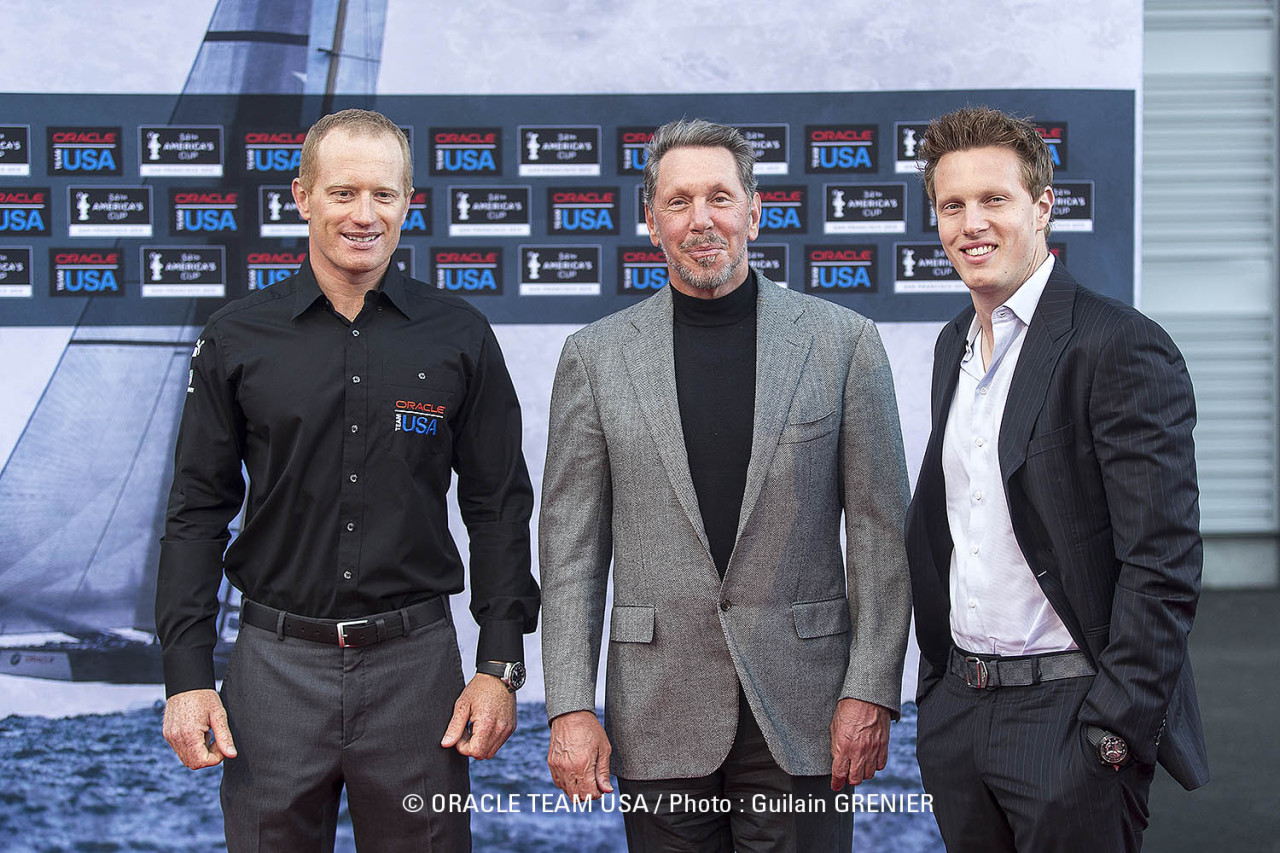 ORACLE TEAM USA skipper Jimmy Spithill, team owner Larry Ellison and film producer David Ellison at the America's Cup Park on Pier 27, ahead of a special screening of 'The Wind Gods', a documentary about Ellison's historic win in the 33rd America's Cup.