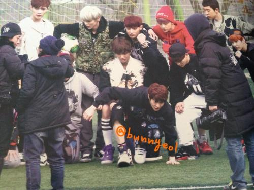 EXO - 130308 Filming at Hankuk Academy of Foreign Studies Credit: Suho Planet photo book, via bunnyeol.