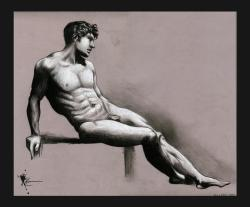 Master study of a Pierre-Paul Prud'hon figure drawing! This one was a lot of fun to do since it's my first time working with black and white media on gray paper.