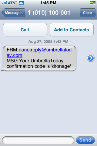 Umbrella Today confirmation text message