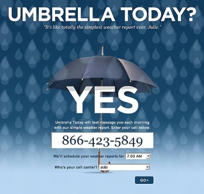 Umbrella Today SMS subscription page