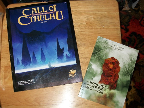 Some RPG books that i got in the post recently, first off Call of Cthulhu, which i got because im reading through H.P. Lovecrafts writings right now on my kindle and enjoying them, so i though id give the RPG a try. The second is an adventure for Lamentations of the Flame Princess (though it will work with other systems), The Monolith from Beyond Space and Time, whcih is also very Lovecraftian.