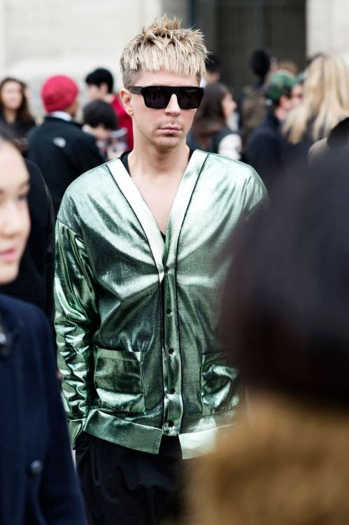 Kyle Anderson @KyleEditor at paris fashion week wearing Burberry Prorsum