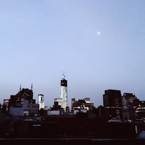 Good morning NY & Friday. #nyc #wtc #moon #morning #ig #iphone #instaphoto