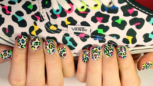 Nail art inspired by my new leopard print vans! ♥ TUTORIAL!: http://youtu.be/vI-PXfIlMlM Blog Post: http://www.packapunchpolish.com/2013/03/neon-leopard-print-nail-art.html