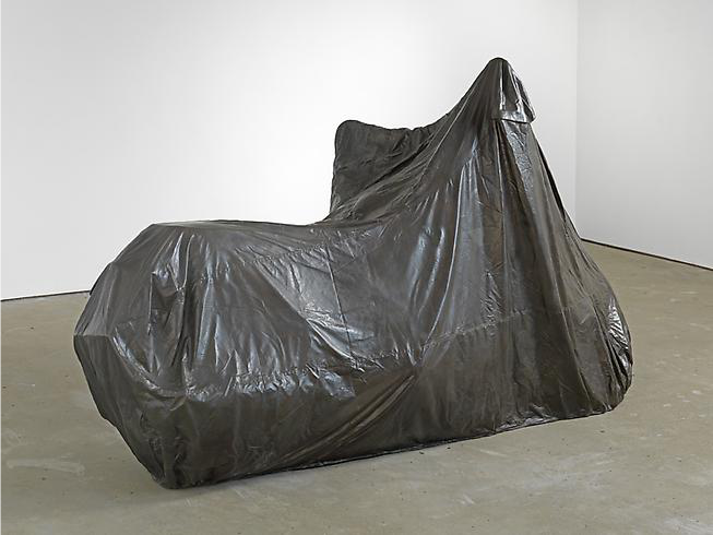 Jonathan Monk, Covered Motorbike, 2013, Bronze, 131 x 221 x 99cm.