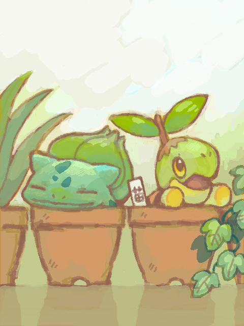 "alternativepokemonart:  Artist Request: ""Any grass type Pokemon planting/growing things?"" I know I have a picture around here of some Grass Pokemon watering stuff, but I just can't find it.. I promise I'll post it when I do, though."