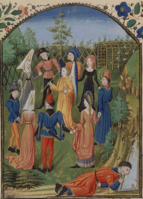 Anonymous,Carole et Fontaine de Narcisse,(Circle dance and the fountain of Narcissus), from theRoman de la Rose by Guillaume de Lorris and Jean de Meun: the allegories of courtliness dance around love. c.1470s, originally made in Rouen, France, now in the Bibliothèque nationale de France (Manuscrits, français 19137, f. 68), Paris #Carole#Carol#Circle dance#Medieval dancing#Middle-Ages #Medieval circle dance  #Roman de la Rose  #Guillaume de Lorris  #Jean de Meun  #fontaine de Narcisse #art#illuminated manuscript#miniature#dance#dancers