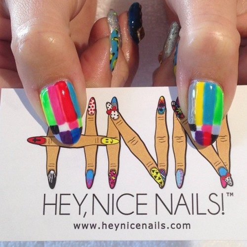 heynicenails:  Color Bars #nailart #gels  (at Hey, Nice Nails!)