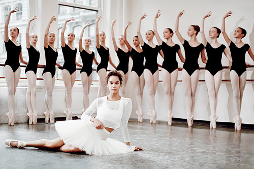"""Misty Copeland in """"Amazing Grace"""" by Will Davidson for Teen Vogue March 2014  """"I still worry, far more than I should, about what the ballet world thinks of me—whether I will ever be accepted and seen as a well-rounded artist deserving of respect. Or will I forever be """"the black ballerina,"""" an oddity who doesn't quite compare? But in my moments of clarity I envision all the people whose lives have been touched by my story, who upon seeing my journey know that you can start late, look different, be uncertain, and still succeed. """"I've come so far from the first ballet class I took at age 13 in my baggy gym clothes at the Boys & Girls Club. I know that by being here now, in this rarefied, difficult, elitist, beautiful world, I have made my mark on history and ballet. I will forever fight, performing like it's my last show. And I will love every minute of it."""""""