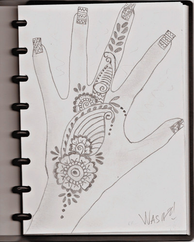 Tattoo henna sketch