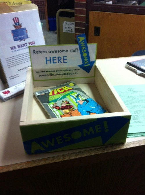 "pandamans:  twonickels:  The Somerville Public Library, in a partnership with the Harvard Library Innovation Lab, launched the ""Awesome Box"" project at all three SPL branches in early February. This endeavor will allow patrons to give fellow users suggestions on what book/CD/DVD they found to be ""awesome."" ""Somerville is the first public library to get on board with the 'Awesome Box' project,"" says Maria Carpenter, Somerville's library director. ""We are always looking for dynamic, innovative and creative approaches to library service, and this was certainly one of those."" Here's how it will work: When a patron particularly enjoys an item, he or she will return the book into the ""Awesome Box,"" which will be clearly labeled with appropriate signage. Then, a library staff member will scan the book twice – once, checking the book in as usual, then another time to list that item on the ""awesome"" page. (via Massachusetts: Somerville Public Library Partners With Harvard Library Lab, Becomes First Public Library to Make ""Awesome Box"" Available 
