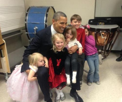 President Obama with some of the siblings of the Sandy Hook Elementary victims. Amazing.