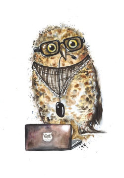 broken-crayon:  Owl with Notebook by Mysoulfly on etsy