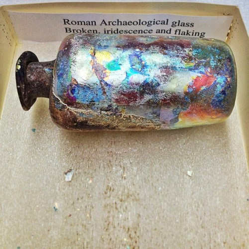 "Roman archaeological glass. Broken, iridescence & flaking. @romtoronto conservation says ""Challenge Accepted""!  MORE on @ROMAncient's April 13/14 Archaeology Weekend!"