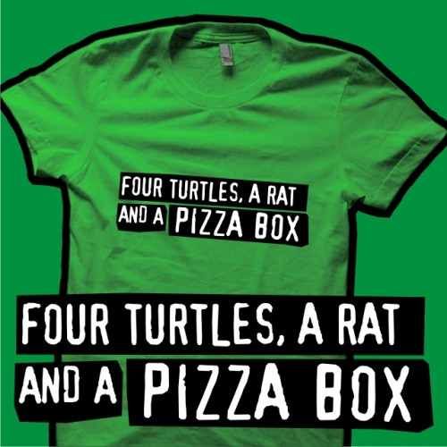 My Two Guys and a Girl / Teenage Mutant Ninja Turtles T-shirt design, 'Four Turtles, a Rat and a Pizza Box', is now available to buy at my Redbubble store, www.redbubble.com/people/byway!