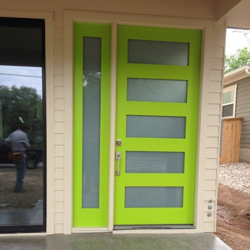 My client's new door, color we selected #SherwinWilliams #6920 Center Stage. #gogreen #gobig #austin #interiordesign #newconstruction