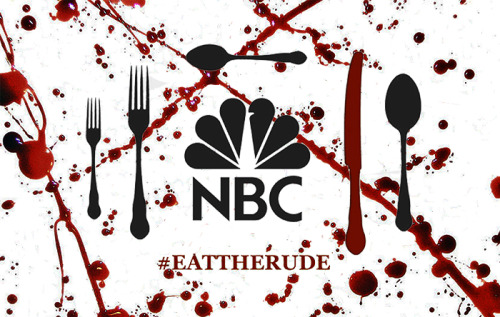 i-am-a-fannibal:  failwizard:  I made a thing. Time to fuck NBC up. If you love Hannibal, take a picture of yourself with a business card or piece of paper with the hashtage #EATTHERUDE. On Thursday while Hannibal is running, we're going to tweet our pictures with only the one hashtag #EATTHERUDE (because apparently otherwise it doesn't count). If you don't want to take a picture of yourself (because let's be honest here, this is Tumblr), still tweet at 10/9c on Thursday. We want to get the hashtag trending. Let's show NBC that Hannibal has a passionate following. Also, if you think that silly lil business card I made doesn't look like shit, feel free to use it. Love you all!  SPREAD THE WORD!!!!!!