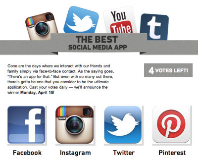 teendotcom:  Vote for your Fave Social Media!  Facebook a d twitter