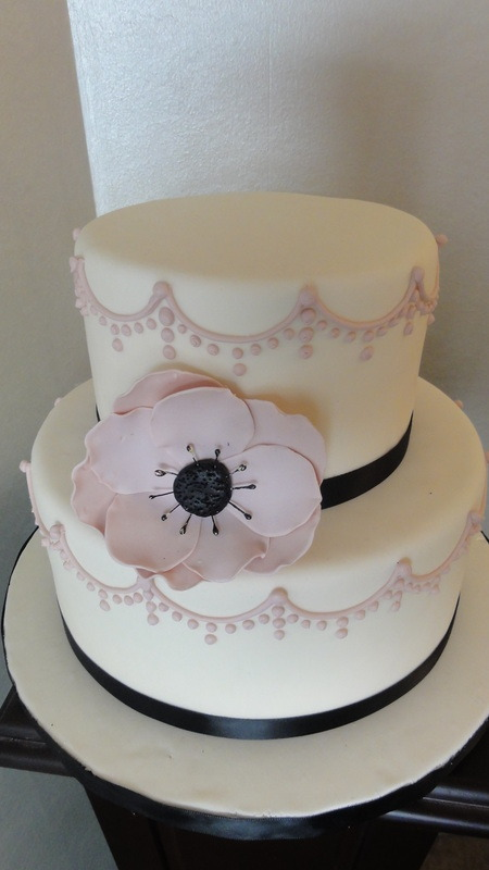 Zingerman's Bakehouse - Pink and Black Wedding Cake Source: The Cake Chick