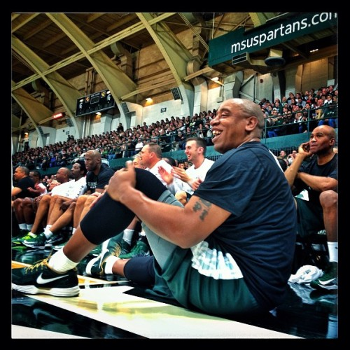 Anthony Miller enjoys the Michigan State Alumni Basketball game on Friday Dec. 14, 2012 at Jenison Field House. #iphone #645pro #snapseed #michiganstate #msu #spartans #basketball (at Jenison Fieldhouse)