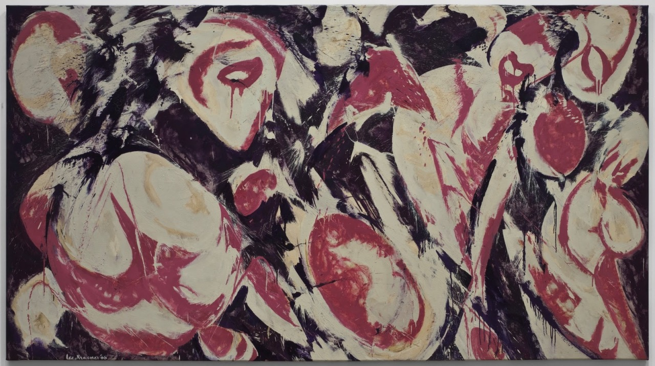 "Lee Krasner: Gaea (1966)  Krasner reinvented her artistic style several times during the course of her career. In the mid-1960s her work took on a spirit of free invention, embodied in broad, sweeping strokes of paint—quite different from her smaller, thickly painted, and tightly controlled canvases of the late 1940s. Though she painted abstractly, Krasner rejected the notion that her painting was devoid of content—she ""wouldn't dream of"" creating a painting from a fully abstract idea, she said. In works like this one, titled after the Earth goddess of the ancient Greeks, the artist claimed to be ""drawing from sources that are basic."""