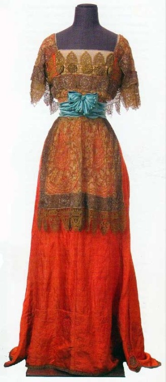 Callot Soeurs |  Winter 1909.  Orange lamé with blue satin and metallic lace Drexel University