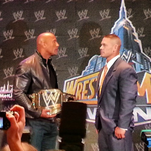 @TheRock & @JohnCena stared own, staredown! #wrestling #wwe #wrestlemania