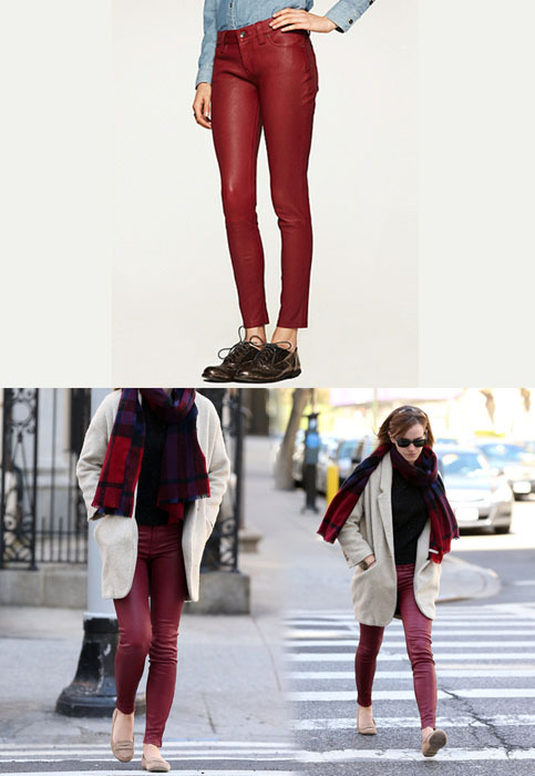 Emma wore a pair of Lucky Brand 'Charlie' Skinny Leather Pants while out in New York.Lucky Brand 'Charlie' Skinny Leather Pants - $499.99Wore with: Topshop Premium Oatmeal Boyfriend Mohair Wool Mixed Coat & Ray-Ban Original Wayfarer 2140 Sunglasses>