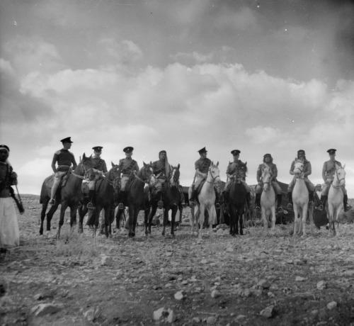 British and Palestinian cavalry at the ceremony for the opening of augmented water source in Jaamri Country at Ain Hamda, southeast of Bethlehem, 6 November 1940.