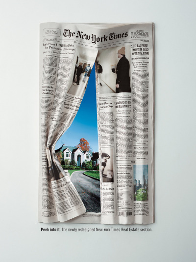 Peek into it. The newly redesigned New York Times Real Estate section. New York Times ad by Reid Miller