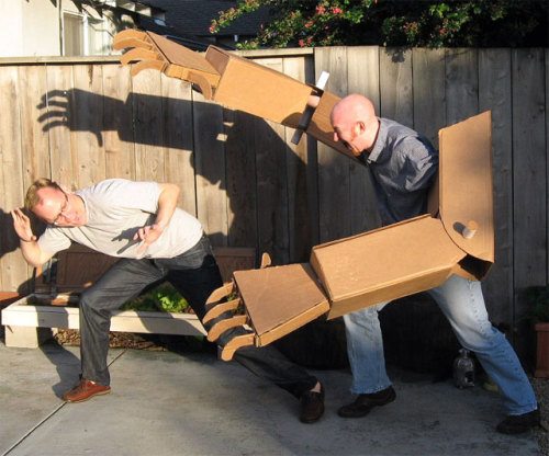 Has anybody seen my giant cardboard robot arms? Oh here they are. (Hat tip: Dude I Want That!!!)