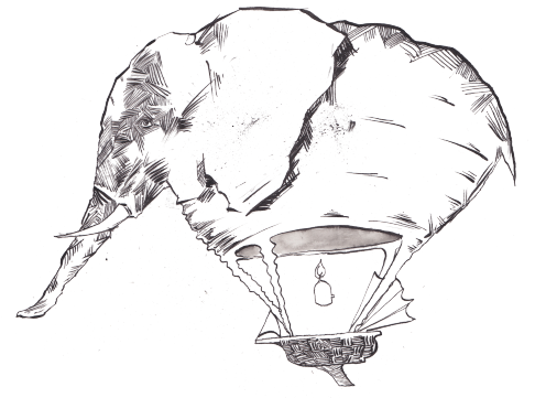 What happens when you cross an elephant with a hot air balloon?