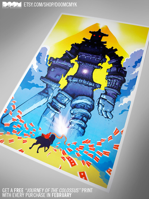 "Only a few days left in February! Get a FREE ""Journey of the Colossus"" print with every purchase in February: etsy.com/shop/DoomCMYK"