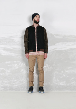 hufferblog:  Huffer / Uphill Battles Autumn 2013 Baseball Jacket / Plateau Shirt / Work Slims