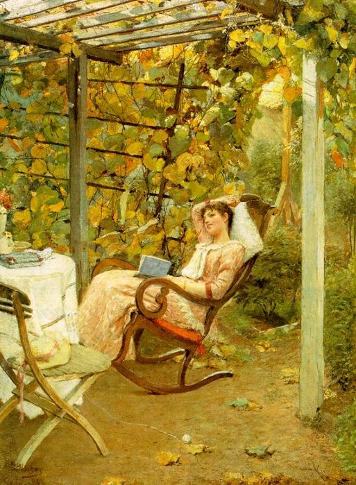 relaxing outside and reading Oscar Bluhm, In the Pergola, 1892
