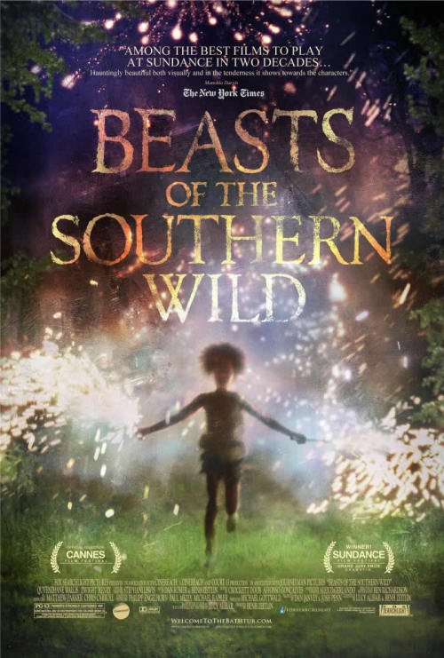 "#130 Beasts of the Southern Wild (2012) Dir. Benh Zeitlin  What a lovely film, fuelled by imagination and coloured by rich textures. Kind of like a mix of Terence Malick and Terry Gilliam at times. The young protagonist is a wonderful creation and getting to see the world through her eyes for 90 minutes was a real pleasure. It becomes a bit aimless and wandering as it goes on and as the story strayed from ""The Bathtub"" I became less interested but I appreciated the film's vision and intentions nonetheless. I can see why it has been embraced so intensely. Very original."