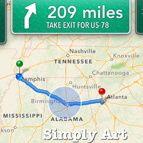 Skipping #Tennessee to save an hour heading into #Atlanta GA to see some family :) #simplyart #me #roadtrip #goodbyecali