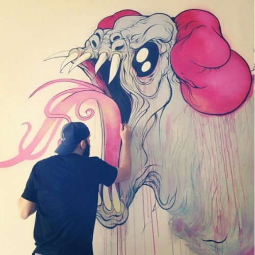 "upperplayground:  @alexpardee at ""The Official Bad Robot Art Experience"" group show on view unyil May 18th #gallery1988 #badrobot #alexpardee #LA"
