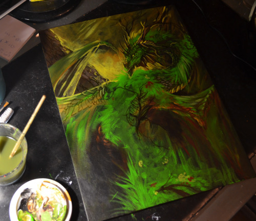 """Pinesoul Dragon"" for Akryl. I shit you not, these canvas boards are addictive as hell. This one is much, much bigger than previous stuff I started! It's 30x40cm and again completely painted with acrylics. Still long way to go. I really wanted to paint something green!"