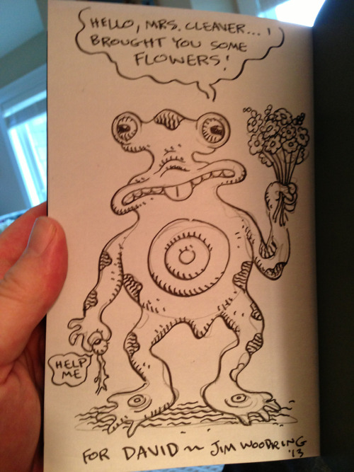 Hello, Mrs. Cleaver… The amazing illustration Jim Woodring did when he signed Problematic: Sketchbook Drawings 2004-2012.